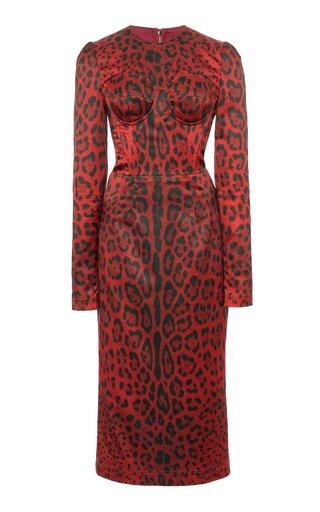 Corseted Leopard-Print Wool-Blend Midi Dress