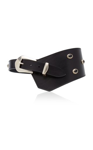 Belly Asymmetric Studded Wide Leather Waist Belt