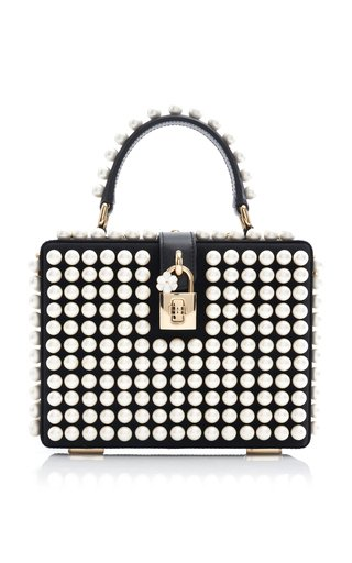 Dolce Box Pearl-Embellished Leather Top Handle Bag