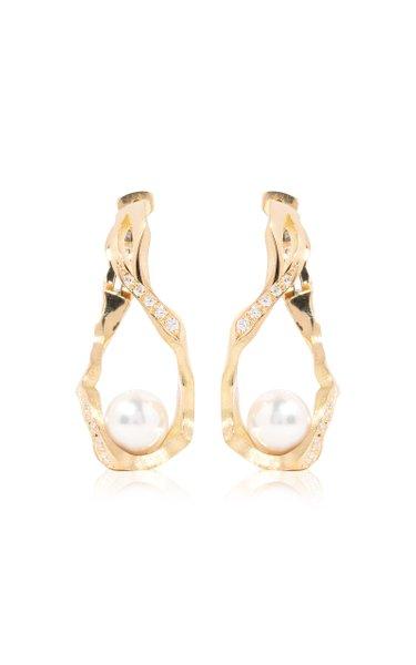 Kintsugi Infinity 18k Gold Diamond & Pearl Hoop Earrings