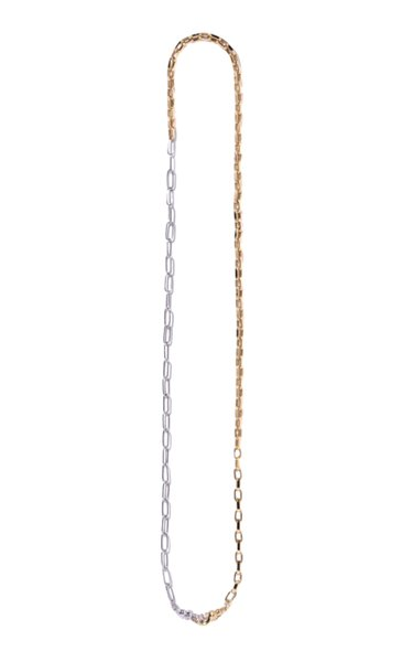 Classic 18k Yellow & White Gold Duo Chain Necklace
