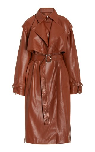 Convertible Faux Leather Trench Coat