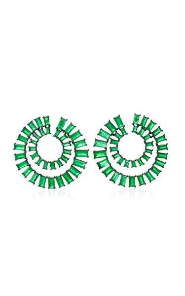 18K Blackened Gold One of a Kind Emerald Double Spiral Hoop Earrings