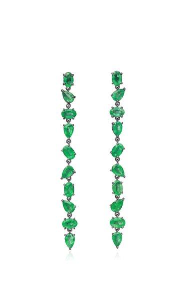 18K Blackened Gold Mixshape Emerald Line Earrings