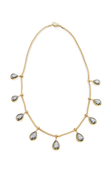 18K Yellow Gold & White Gold One of a Kind Pearshape Diamond Necklace