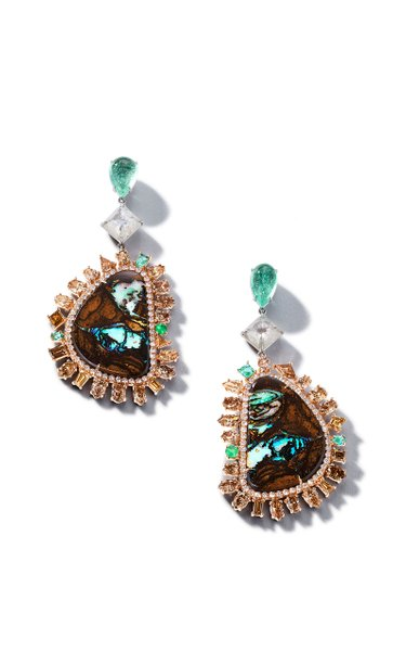 18K Rose Gold One of a Kind Yahwah Opal & Mixshape Brown Diamond Earrings