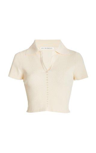 Atlas Ribbed-Knit Cropped Polo Shirt