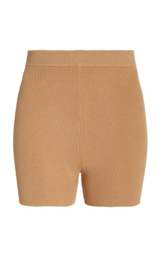 Easy Ribbed-Knit Cotton-Blend Shorts
