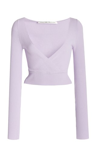 Verso Ribbed-Knit Cropped Wrap Top