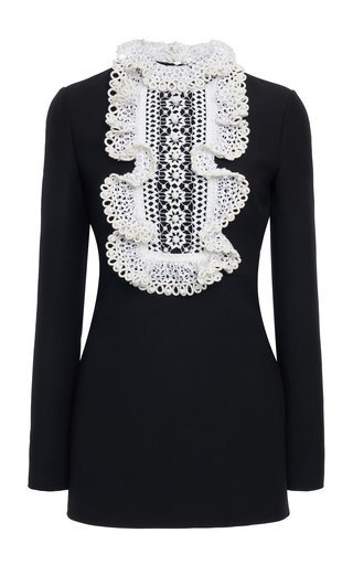 Embroidered-Lace Wool And Silk-Blend Mini Dress