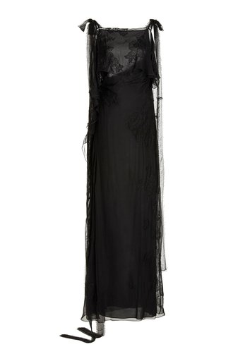 Lace-Detailed Silk Gown