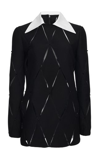 Lasercut Wool And Silk-Blend Mini Dress