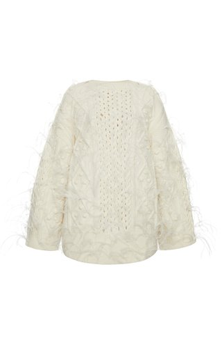 Feather Embroidered Virgin Wool Sweater