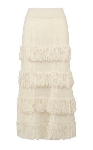 No Doubts Fringed-Trim Alpaca Midi Skirt