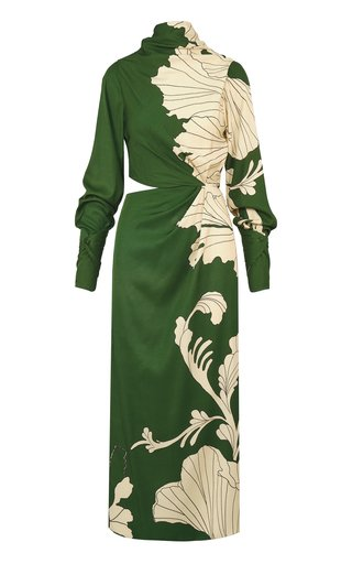 Garden Shadows Cutout Silk Midi Dress