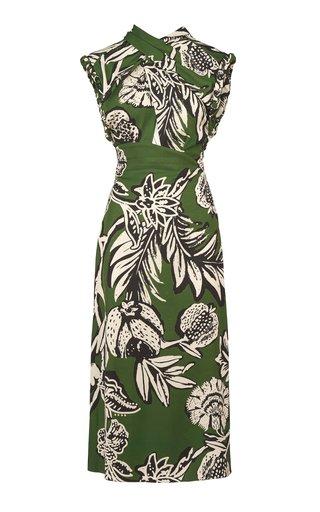 Peculiar Intrigue Printed Crepe Midi Dress