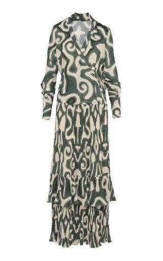 Illusional Mola Printed Crepe Maxi Dress