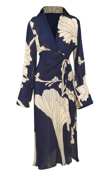 Mysterious Grace Silk Midi Dress