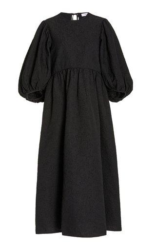 Karmen Puff-Sleeve Cotton-Blend Cloqué Midi Dress