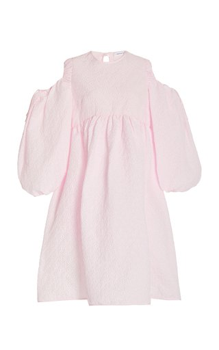 Janessa Puff-Sleeve Cloqué Midi Dress