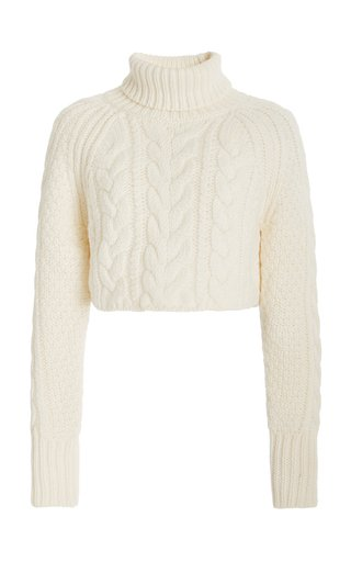 Giselle Cropped Cable-Knit Wool-Blend Turtleneck Sweater