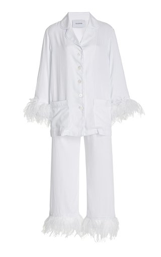 Party Feather-Trimmed Woven Pajama Set