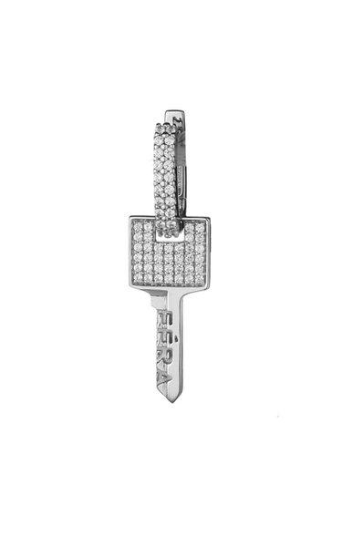 18K White Gold Small Key Earring