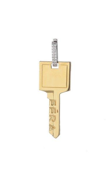 18K Yellow & White Gold Big Key Earring