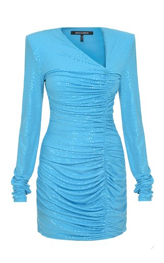 Ruched Sequined Mini Dress