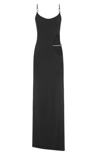 Crystal-Embellished Cutout Ribbed-Knit Maxi Dress