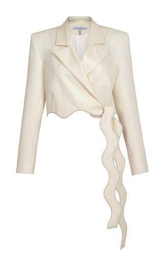 Wavy Crystal-Trimmed Wool Blazer