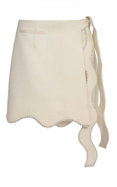 Wavy Tie-Detailed Wool Mini Skirt