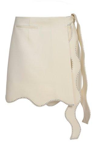 Wavy Crystal-Trimmed Wool Mini Skirt