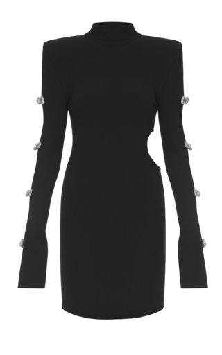 Crystal-Embellished Cutout Ribbed-Knit Mini Dress