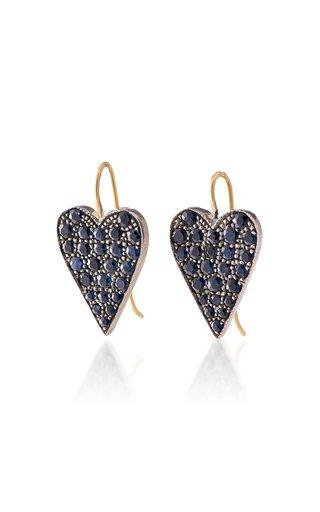 Heart 18k Gold Sapphire Earrings