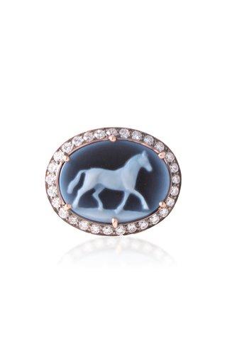 18k Gold Diamond & Onyx Horse Ring