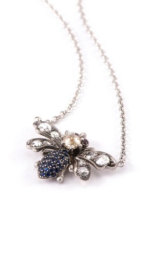 18K White Gold Multi-Stone Bee Necklace