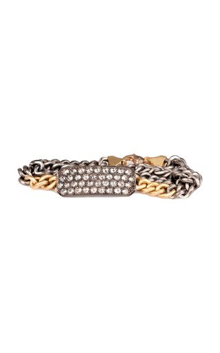 Ten Table 18K Yellow Gold, Sterling Silver Diamond Bracelet