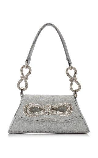 Samantha Double-Bow Glittered Shoulder Bag