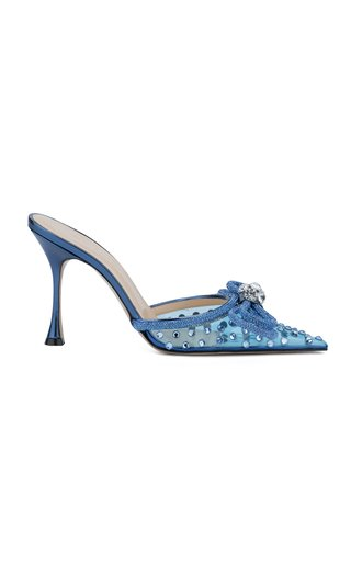 Double-Bow Crystal-Embellished PVC Mules
