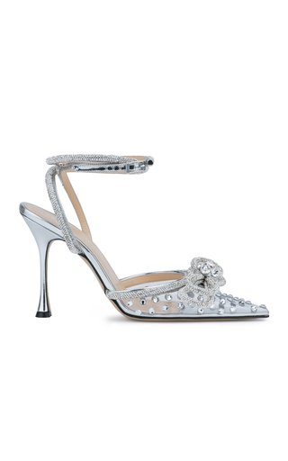 Double-Bow Crystal-Embellished PVC Pumps