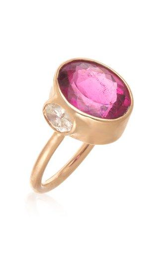 18K Yellow Gold Tourmaline, Diamond Ring