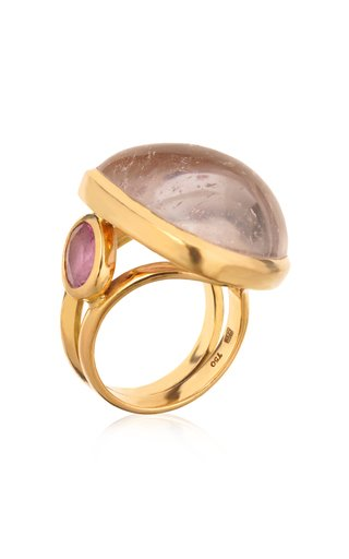 18K Yellow Gold Morganite, Tourmaline Ring