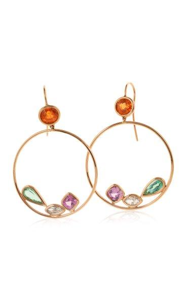 18K Yellow Gold Tourmaline, Sapphire Earrings