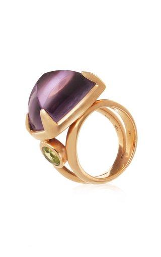 18K Yellow Gold Amethyst, Tourmaline Ring