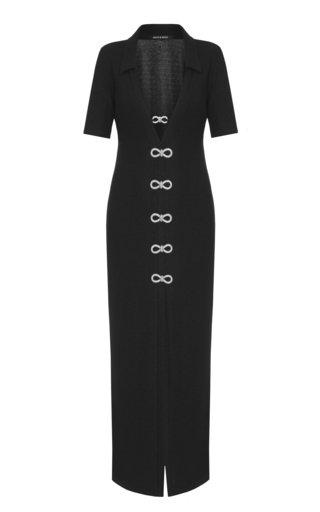 Crystal-Embellished Ribbed-Knit Midi Shirt Dress