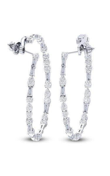 Raindrop 18K White Gold Diamond Hoop Earrings