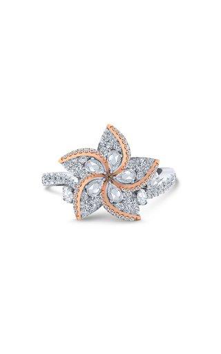 Frangipani 18K White and Rose Gold Diamond Ring