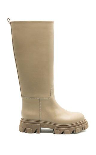 Tubular Leather Knee Boots