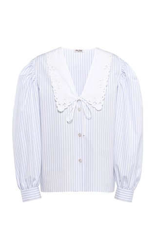 Collared Striped Cotton Top
